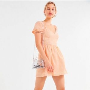UO ✦ Orange Gingham Seersucker Mini Dress ✦ NWT